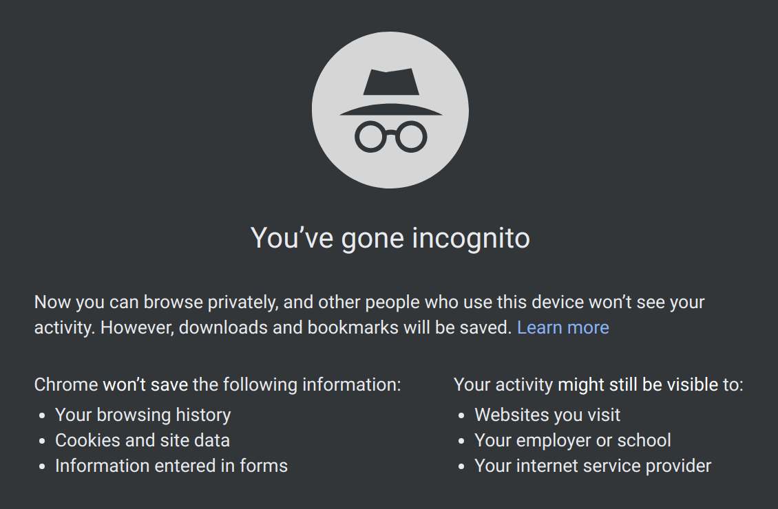 Incognito mode New Tab page