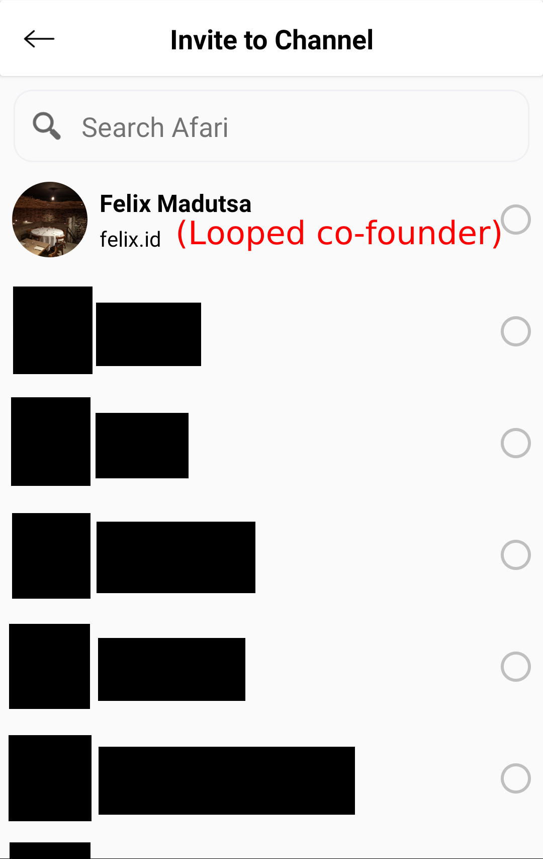 List of people to invite, including Looped co-founder Felix Madutsa