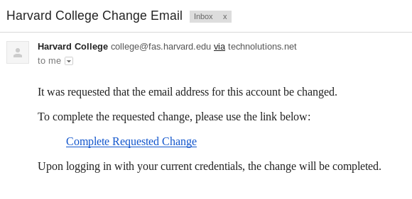 the confirmation email, containing a link to complete the reset