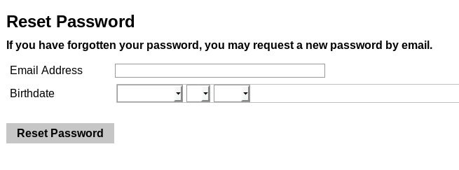 password reset form, which asks for email address and birth date