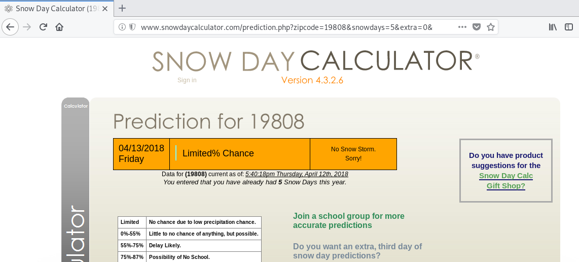screenshot of Snow Day Calculator's main page